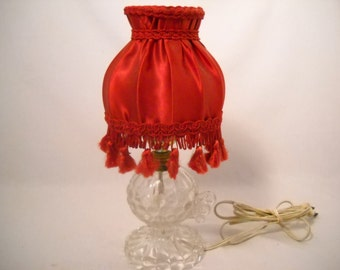 Vintage Victorian Glass Lamp/Underwriters Lab Glass Crystal Lamp/Red Tasseled Lamp And Shade