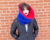Super Chunky Cotton Cowl - Cables in Royal Blue and Red : Upcycled Recycled Repurposed Eco Friendly