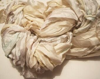 SALE Recycled Sari Silk Ribbon Yarn, Cream Greenish Gem, 65 yards,  free shipping 3.5 oz / 100 grams