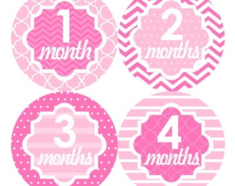 Baby Month Stickers FREE Baby Month Milestone Sticker Baby Monthly Stickers Girls Bodysuit Stickers Newborn Photo Props Chevron Pink 118G