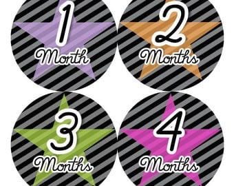 SALE Girl Monthly Baby Stickers FREE Just Born Bodysuit Sticker Baby Girl Month Milestone Sticker Photo Prop Baby Shower Gift  Stars (116G)