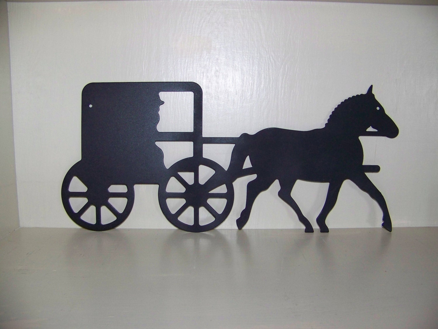 Silhouette metal horse and buggy decorative hanger |Metal Horse And Buggy Silhouette