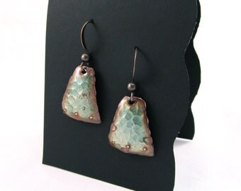 Patina-Green Hammered Trapezoid Earrings with Dotted Detail
