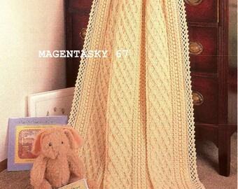 Afghan blanket throw aran style crochet pattern vintage newborn Christening Baptism present PDF instant download