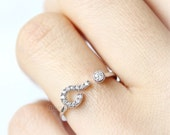 CZ Question Mark Ring / choose your color, gold and silver