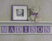 Purple Baby Girl Nursery Decor White or Off White Shelf with  Personalized Wood Letter Plaques in Light Purple / Lilac Name Signs