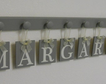 Gray Wall Decor, Baby Girl Nursery Decor Wooden Room Sign Set Includes 8 Wooden Pegs Painted Grey. Personalized Gift Letters for MARGARET