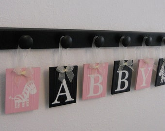Zebra Girls Nursery   Room Decor Sign   Hanging Letters   Personalized Light Pink & Black Baby Name   Zebra Unique Custom Baby Gifts