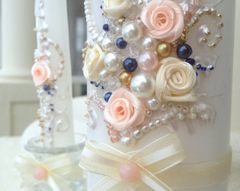 Wedding unity candle set in ivory, blush, gold and navy, perfect for your Unity Ceremony or as a gift idea