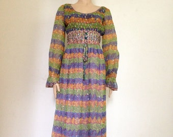 60s Vintage Psychedelic Chiffon Party Dress medium