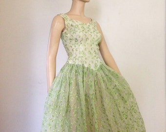50's Vintage Hourglass Organza Party Dress Sm. XS