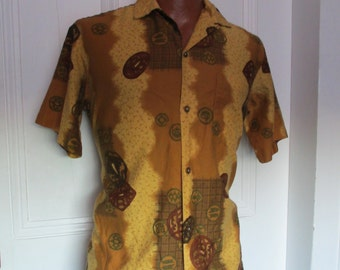 50's Vintage Tiki Print Hawaiian Shirt medium/large