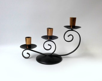 Vintage retro 1960s copper and black enamel candlestick