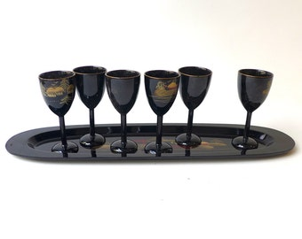 Vintage Mid century black lacquer Japanese Sake tray and cups