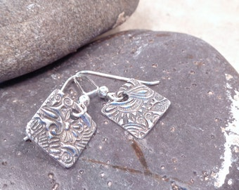 Square Fine Silver Floral Paisley Earrings