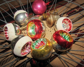 Antique Mercury Glass Ornaments, Red and White, Silver and Gold