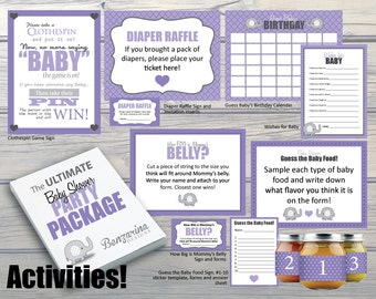 Purple Elephant Baby Girl Baby Shower Party Package -Complete with Decorations, Activities, Games & Banners Kit, Instant Download DIY