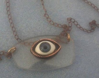 I See Everything - eyeglass lens necklace with blue eye - transitional lenses
