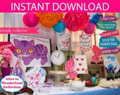 Alice in Wonderland Party Props & Games Printable Kit - INSTANT DOWNLOAD