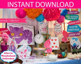 Alice in Wonderland Party Props & Games Printable Kit - INSTANT DOWNLOAD