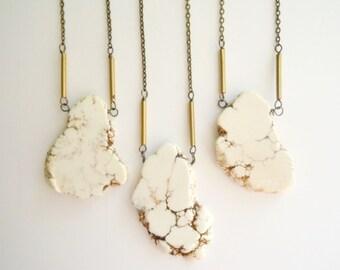 White Howlite Turquoise Necklace - Organic Freeform Slab - Bohemian - Layering Necklace