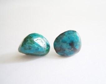 Chrysocolla Raw Gemstone Earrings - Sem Precious - Rustic - Organic Posts - Gift Ideas -Sterling Silver