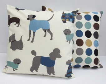 Pair of Dog Cushion Covers , Dog Print Pillow Covers, 16  x 16 Inch Spotty Cushion Covers  with Blue, Grey Brown, Black  Camel Spotty Print