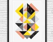abstract art print, geometric print, wall art  abstract poster, scandinavian design, minimalist art, watercolor abstract, mid century modern
