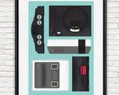 video game art, retro poster, geekery print, video game console, 8bit art, nintendo poster, man cave art, kids room art, play room art
