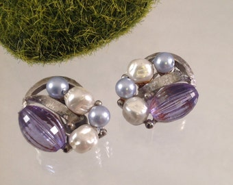 Lavender Bead and Faux Pearl Silver Earrings