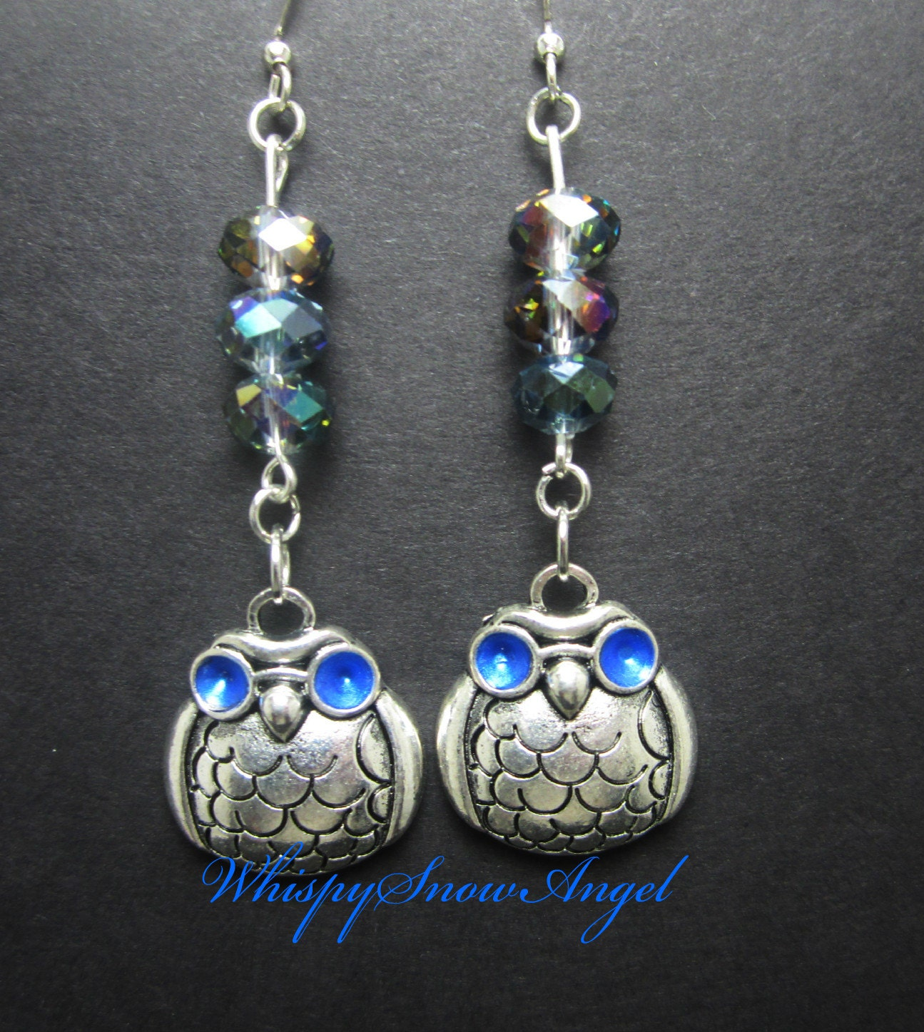 silver owl earrings blue faceted rondelles by