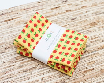 Small Cloth Napkins - Set of 4 - (N2317s) - Small Apple Tomato Modern Reusable Fabric Napkins