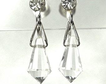 Vintage Crystal Drop Earrings (No. 963)