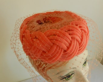 Salmon Organdy Pleated Hat with Perfect Peach Veil