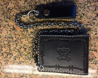 Handtooled Bifold BlackWallet with Skulls and Stainless Steel Chain Mail Chain