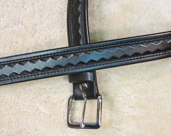Hand-tooled Leather Belt - B24017 in your color choice, Made-to-Order - Free US Shipping