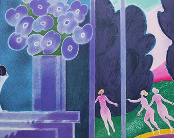 Vintage Lithograph 'Dancing Act' - Albert Zavaro