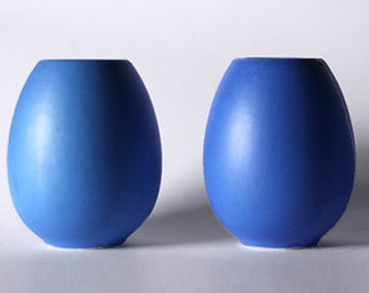 Vintage Set Of Two Dutch Blue Vases - Flora, Netherlands 1980s