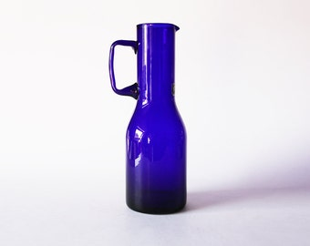 Mid Century Italian Cobalt Blue Glass Decanter - Centro Vetro 60s 70s