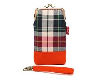 Orange tartans smartphone kisslock sleeve
