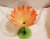 Martini glass with Hand painted multi shade orange colored flower