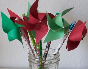 Stocking Stuffer Christmas Stocking Stuffer Party favor pinwheel pencils 6 (custom orders welcomed)