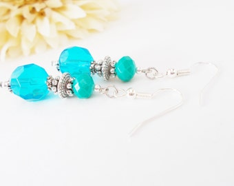 Bright Turquoise Glass Beaded Earrings, Teal Bridal Earrings, Aqua Dangle Earrings, Ocean Blue Wedding Earrings, Clip On, Earrings Under 20