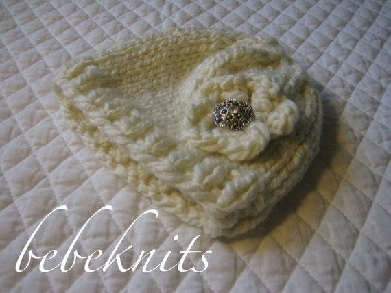Glamorous Hand Knit Small Newborn/Preemie Baby Hat in Ivory with Vintage Rhinstone Button