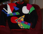 Vintage Sweater, Bright Picasso Type Design on a Black Background by Exclusive Imports