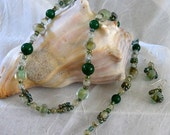 Blown Glass Beaded Necklace- Bracelet -Earring Set Multi Green Hand Crafted with Magnetic Clasps