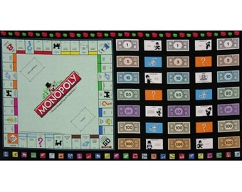 Monopoly Gameboard Fabric 23x44 premium cotton fabric panel by Quilting Treasures