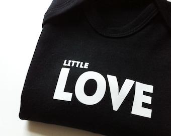 LITTLE LOVE black baby romper, black baby clothes, little love print, monochrome baby clothes, new baby gift,newborn gift