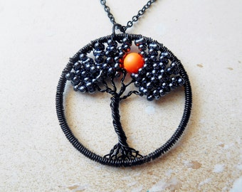 Tree of life, Neon Moon, Tree Necklace, Wire Tree Pendant