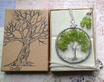 Peridot Tree Of Life Silver Necklace